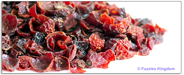 Organic crushed rose hips for rabbits, chinchillas, guinea pigs, degus